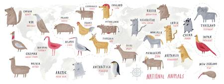 World Map of National Animals by Oi Oilikki