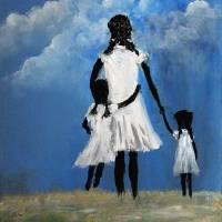 MY GIRLS      KIP HAYES FOLK ART Art Prints & Posters by Larry