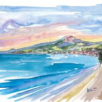 Martinique Dream Beach with Montagne Pelée Art Prints & Posters by M Bleichner