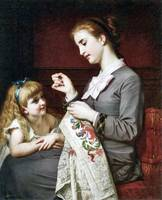 Hugues Merle - The Embroidery Lesson 1862