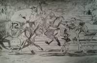 Horse Race Black and White