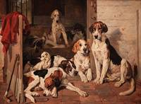 John Emms - Foxhounds and Terrier in a Stable Inte