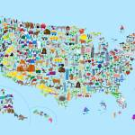 """Animal Map of United States for children and kids"" by ModernArtPrints"