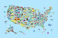 Animal Map of United States for children and kids