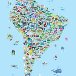 """Animal Map of South America for children and kids"" by ModernArtPrints"