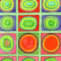 Green Grid filled with Circles and intense Colors Art Prints & Posters by Heidi Capitaine