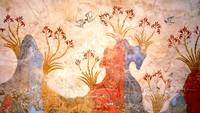 Minoan Spring Fresco West Wall Swallows Scene