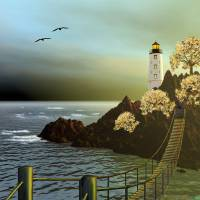 The Lighthouse 5 Art Prints & Posters by Anne Vis