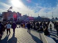 Busy square in Istanbul, Turkey