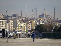 Istanbul cityscape with Blue Mosque