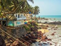 Cliff side of Arambol at ocean in Goa, India