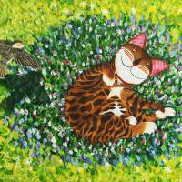 catmasutra cat art - under the light blue sky Art Prints & Posters by Paul Koh