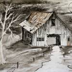 barn pen and ink drawing Prints & Posters