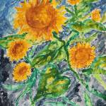 sunflowers modern art Prints & Posters