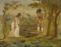 SILKWORK PICTURE OF A YOUNG LADY EMBARKING A ROWIN