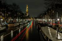 Amsterdam House Boats and Light Trails