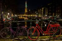 Red and Purple Bike Canal and Westkerk Amsterdam