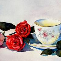Teacup and Roses Art Prints & Posters by Judy Mudd