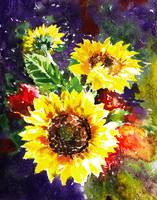 Impressionistic Watercolor Sunflowers Painting
