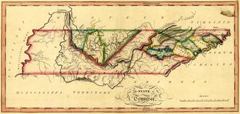 State of Tennessee Map by Samuel Lewis (circa 1817