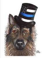 THIN BLUE LINE GERMAN SHEPHERD WITH TEARS