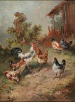 Louis Marie Lemaire (Paris 1824-1910) Chickens bef