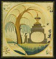 SILK EMBROIDERED MOURNING PICTURE FOR GEORGE WASHI