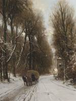 Louis Apol (1850-1936) Horse and carriage on a tra