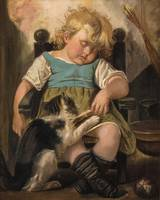 Sleeping Girl on chair with cat