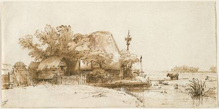 Rembrandt Harmensz. van Rijn, Dutch , A Farm on th