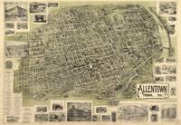 Vintage Pictorial Map of Allentown Pennsylvania (1