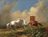 Rudolf Koller, Frightened Horses Before a Storm, 1