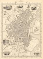 Vintage Map of Belfast Ireland (1851)