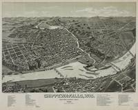 Vintage Pictorial Map of Chippewa Falls WI (1886)