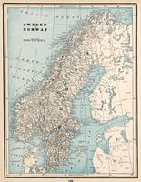 Vintage Map of Norway and Sweden (1893)