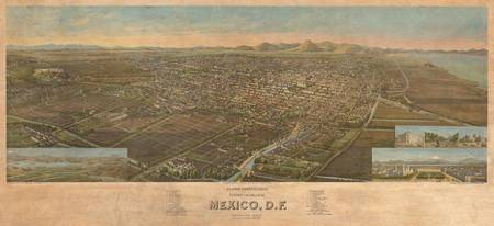 Vintage Pictorial Map of Mexico City (1906)