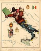 Vintage Illustrative Map of Italy (1869)