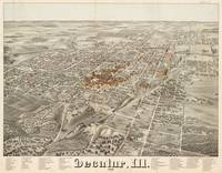 Vintage Pictorial Map of Decatur Illinois (1878)