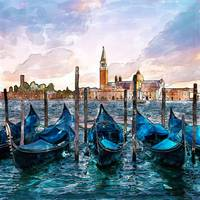 Gondolas in Venice watercolor