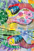 Hippy Fish swim in Rainbow Glow