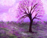 One Purple Tree Abstract Landscape