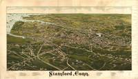 Vintage Pictorial Map of Stamford CT (1883)