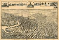 Vintage Pictorial Map of Stockton California (1895