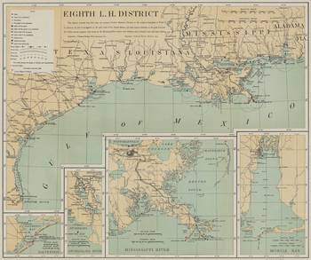 Vintage US Gulf of Mexico Lighthouse Map (1898) by Alleycatshirts ...