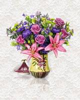 Lush Floral Arrangement in Pink and Purple on Crea