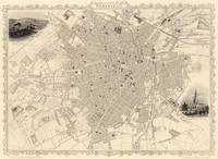 Vintage Map of Sheffield England (1851)