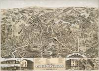Vintage Pictorial Map of Taunton MA (1875)