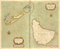 Vintage Map of Bermuda & Barbados (1707)