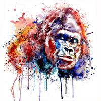 Gorilla Watercolor portrait