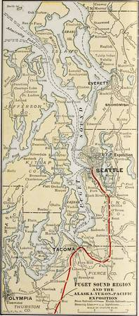 Vintage Map of The Puget Sound (1909)